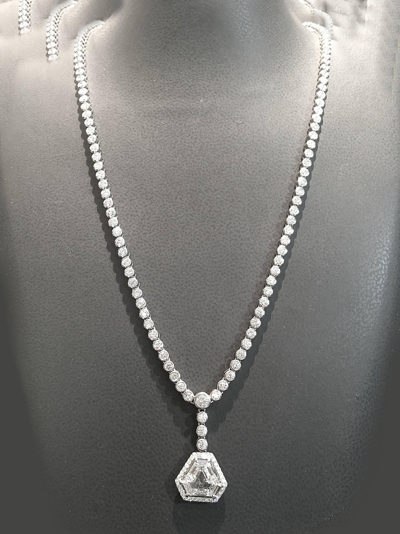 Women's 1.60 Carat GIA Cert Diamond Gold Pendant on Diamond Gold Necklace For Sale