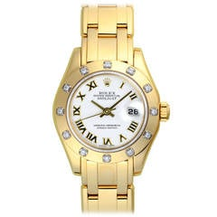 Rolex Lady's Yellow Gold Lady Pearlmaster Datejust Automatic Wristwatch