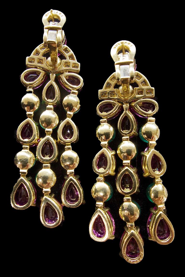 Bulgari Pink Sapphire Emerald Diamond Pendant Earrings 3