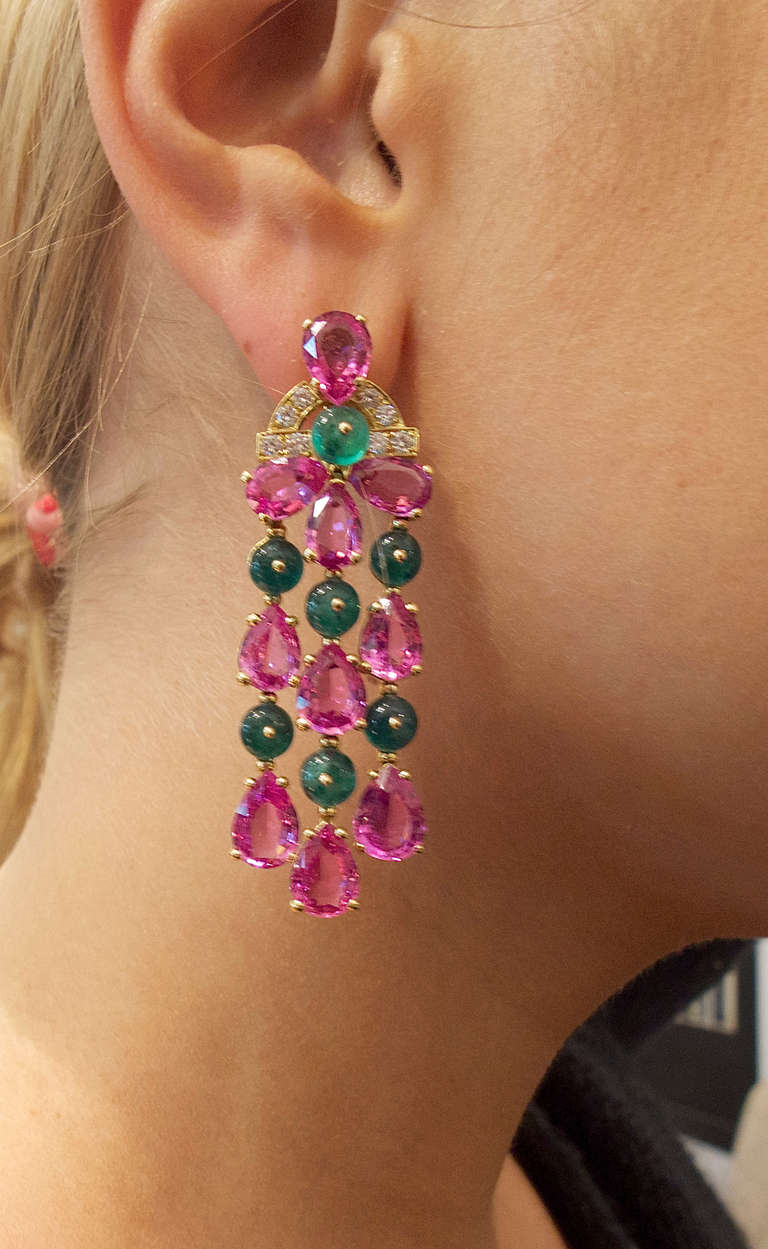 Women's Bulgari Pink Sapphire Emerald Diamond Pendant Earrings For Sale