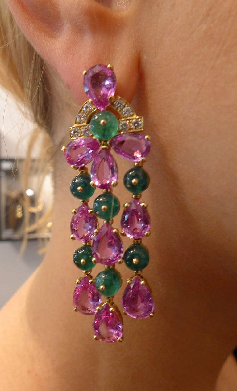 Bulgari Pink Sapphire Emerald Diamond Pendant Earrings 5