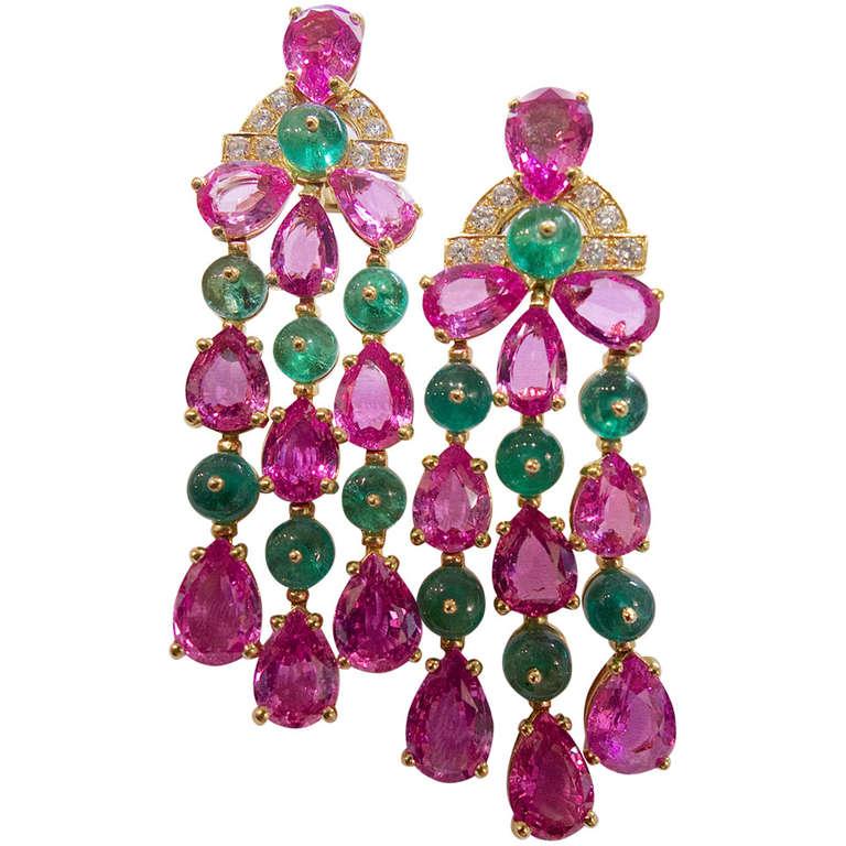 Bulgari Pink Sapphire Emerald Diamond Pendant Earrings 1