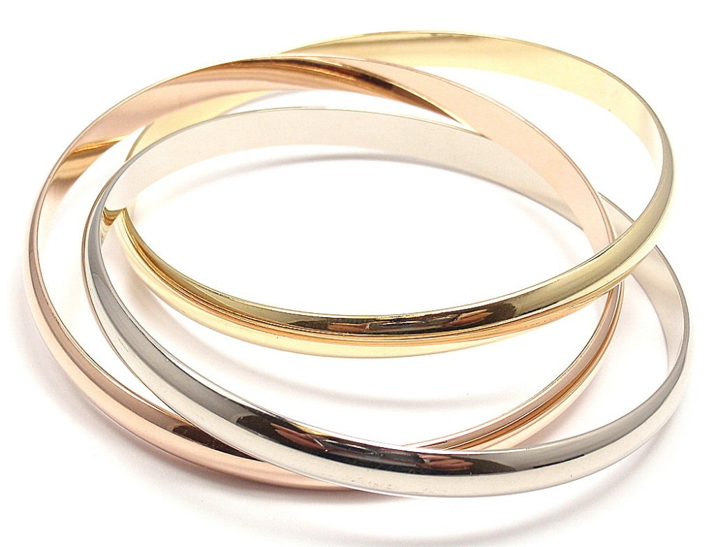 Contemporary Cartier Trinity Three Color Gold Bangle Bracelet For Sale