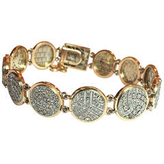 1930s Rose Cut Diamond Gold Platinum Link Bracelet