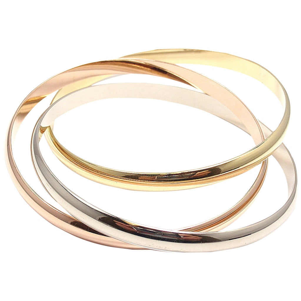 Cartier Trinity Three Color Gold Bangle Bracelet For Sale