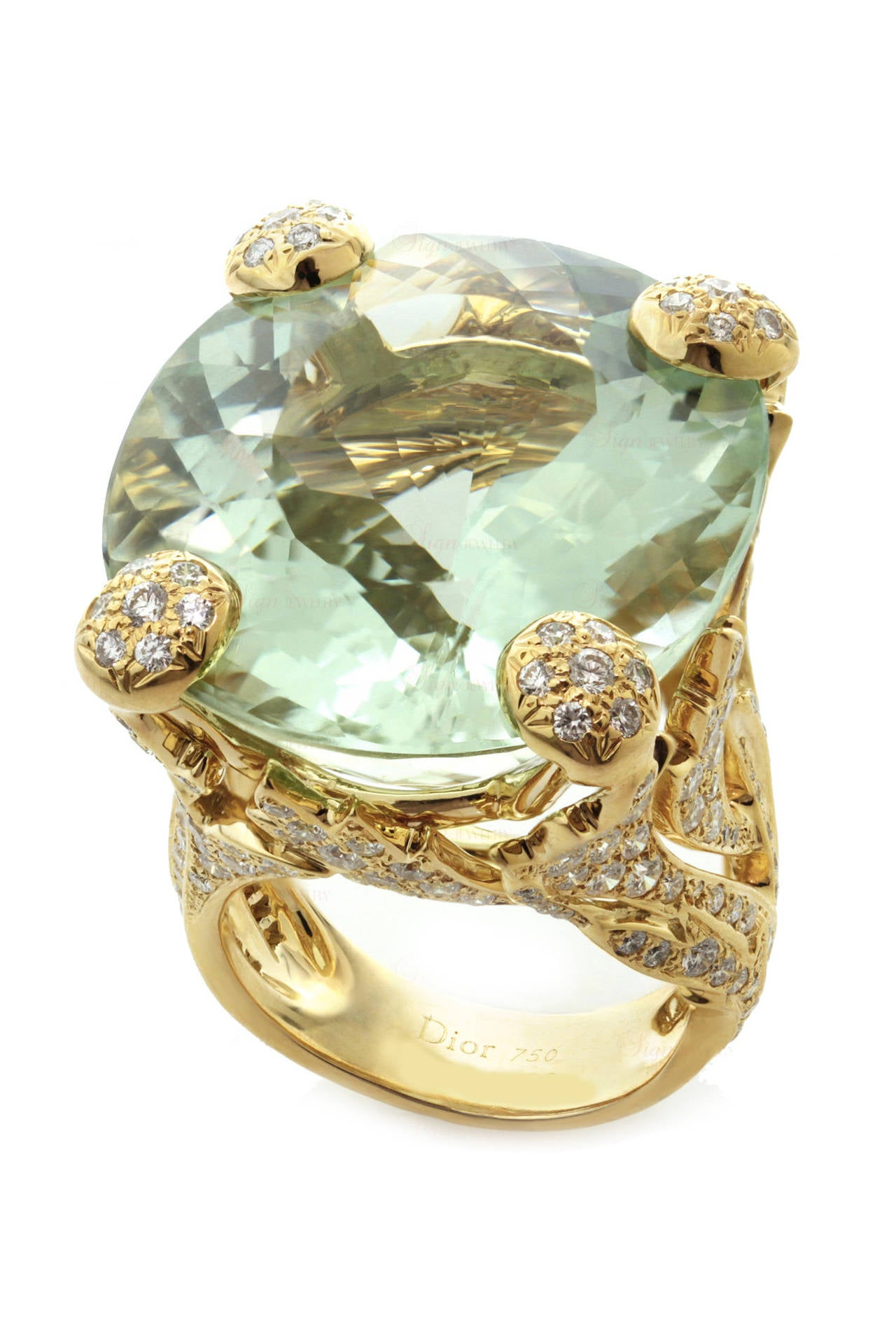 Christian Dior Green Beryl Diamond Gold Ring For Sale At