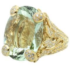 Christian Dior Green Beryl Diamond Gold Ring