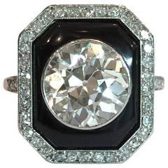 Art Deco 4 Carat Round Diamond Onyx Platinum Ring