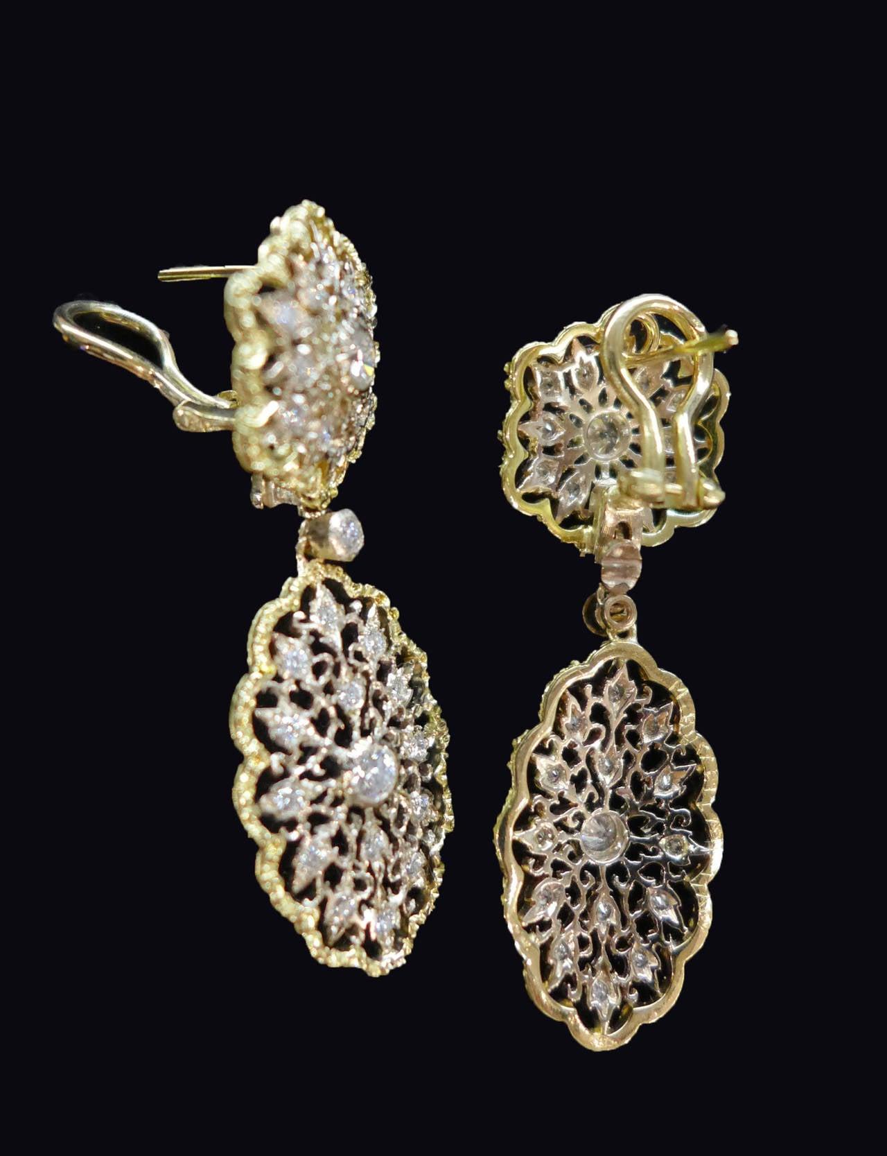 Buccellati Diamond Gold Earrings At 1stdibs