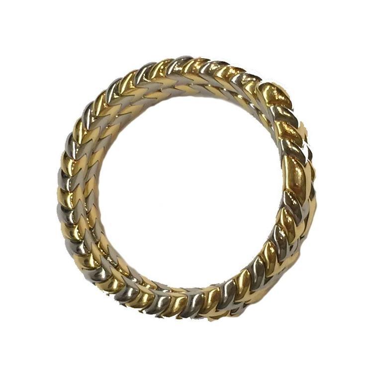 3aa0f5ade68a1 Bulgari Spiga stainless Steel gold snake bracelet