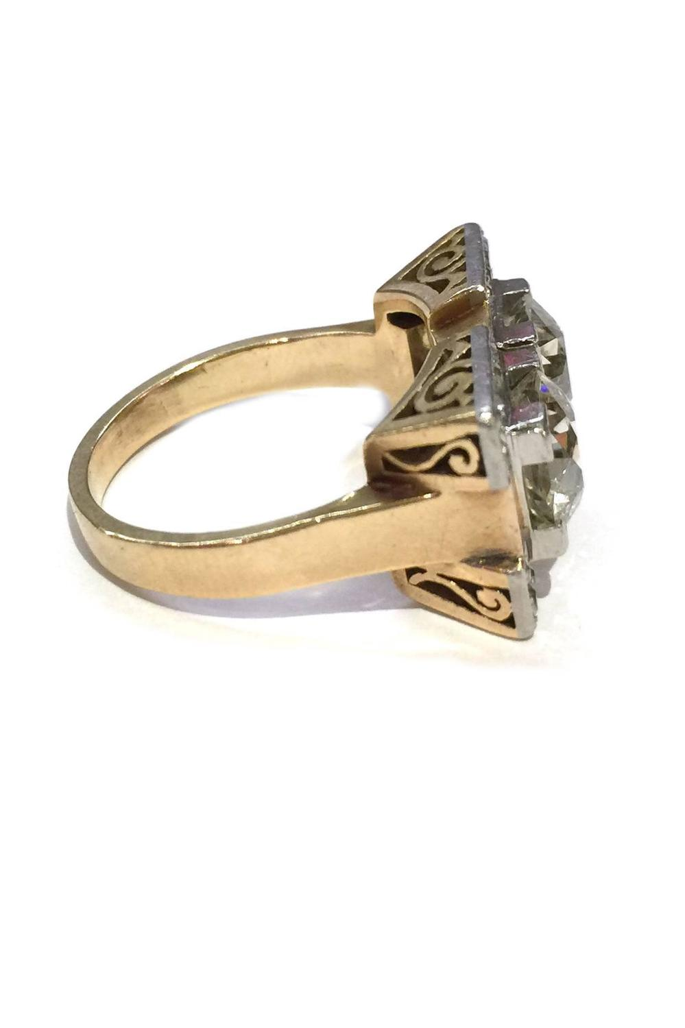 deco yellow gold and platinum ring at 1stdibs