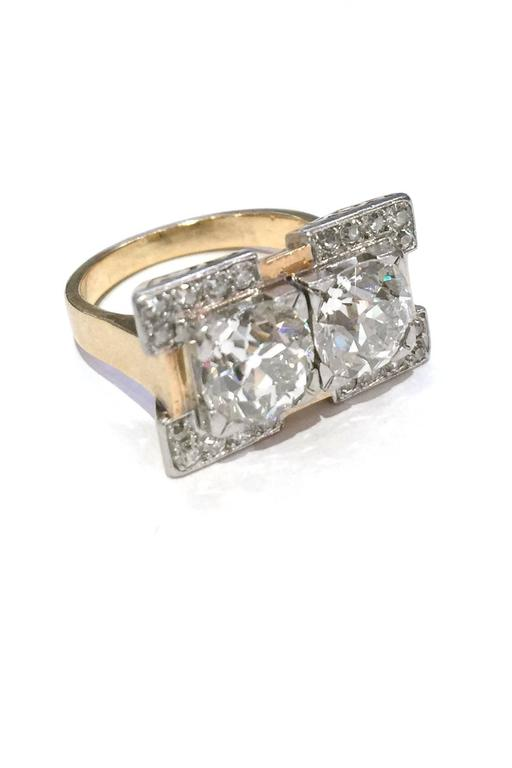 Art Deco Yellow Gold And Platinum Diamond Ring At 1stdibs