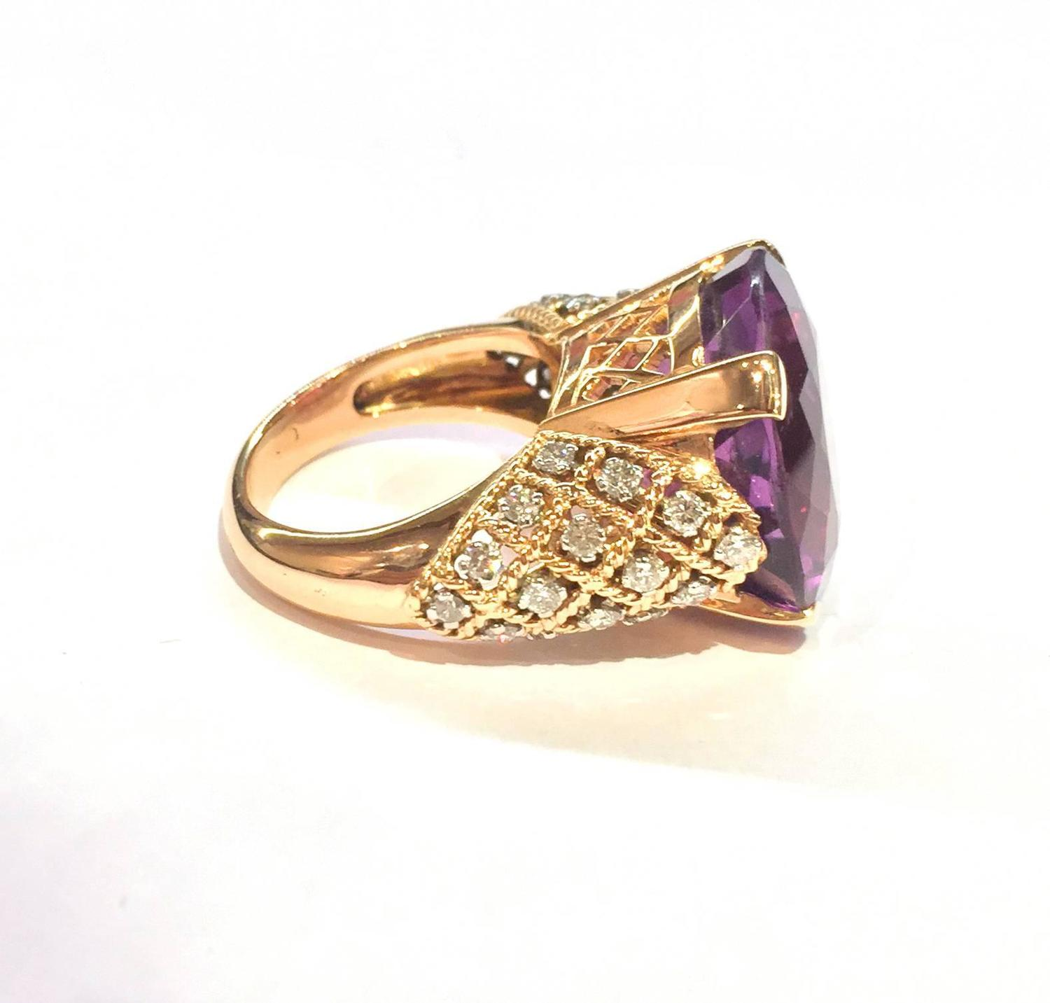 amethyst gold platinum ring at 1stdibs