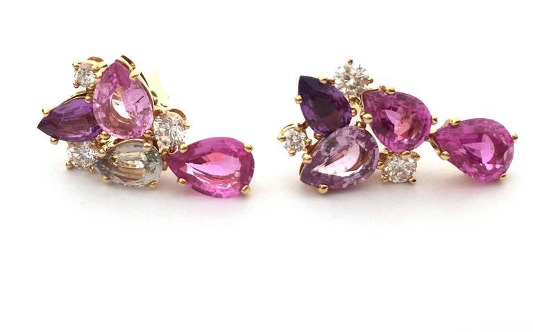 Bulgari Sapphire Diamond Gold Flora Earrings 2