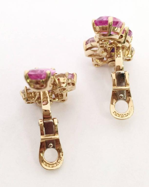 Contemporary Bulgari Sapphire Diamond Gold Flora Earrings For Sale