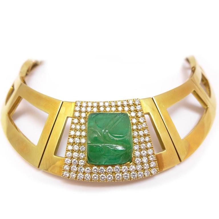 Modern 1970s Emerald Diamond Gold Repossi Necklace