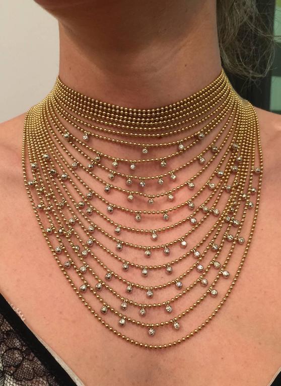 Cartier Sublime Diamond Gold Draperie Necklace Set   3