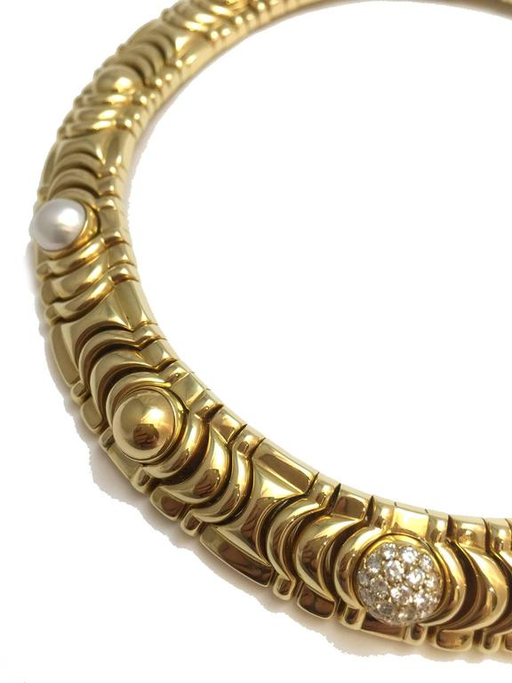 1990s Piaget Gold Necklace Enhanced with 19 Half Decorative Beads 2