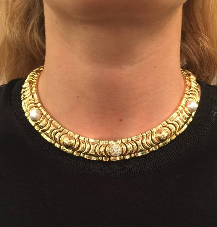 1990s Piaget Gold Necklace Enhanced with 19 Half Decorative Beads 4