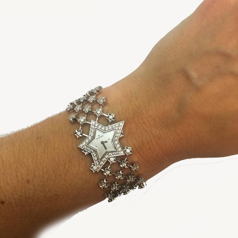 Chanel Ladies White Gold Diamond Dust of the Stars Quartz Wristwatch For Sale 3