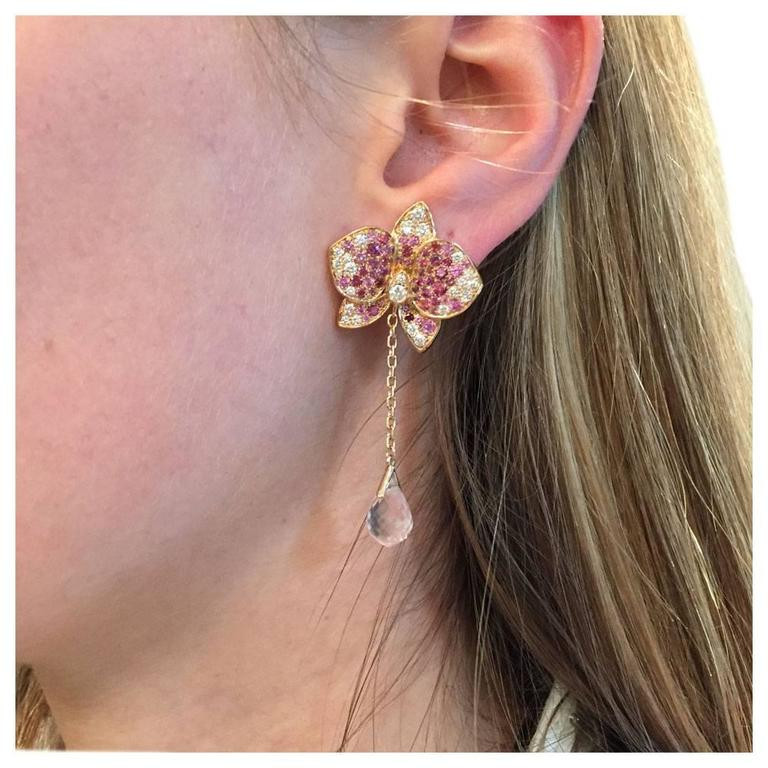 Women's Cartier Earrings Pink Sapphires and Diamonds Caresse D'orchidées For Sale