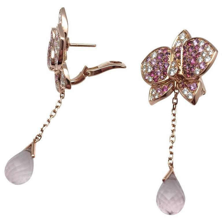 c83caa55612c4 Cartier Earrings Pink Sapphires and Diamonds Caresse D'orchidées