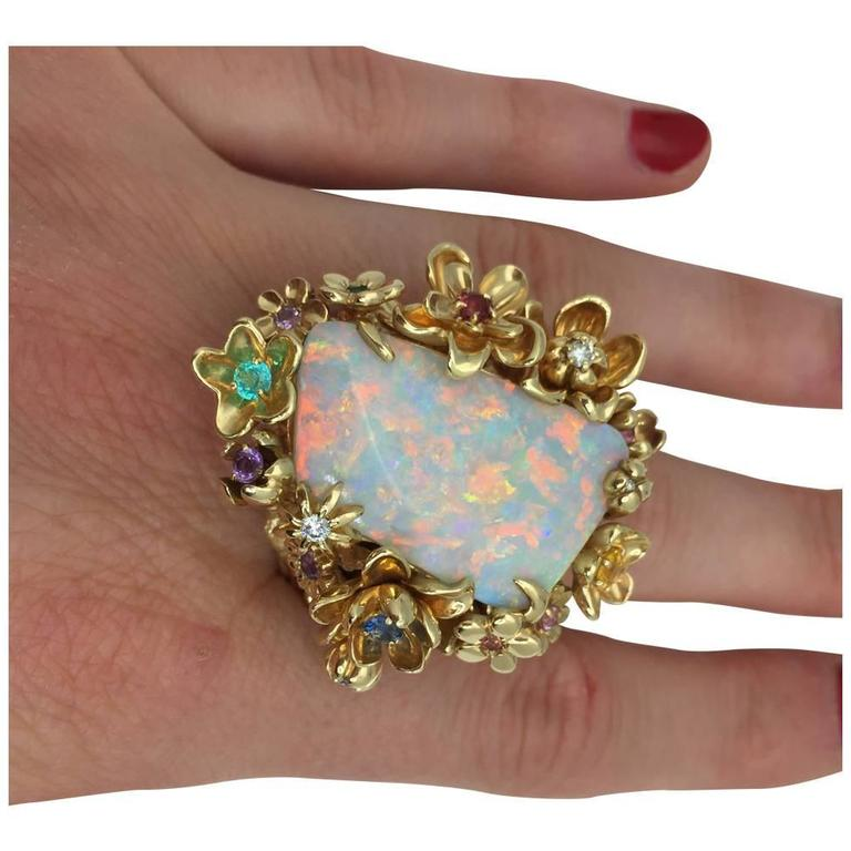 Dior Opal Diamond Gems Gold Ring For Sale 1