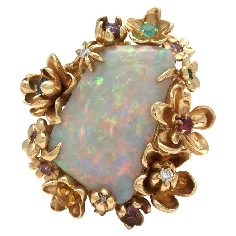 Dior Opal Diamond Gems Gold Ring For Sale 2