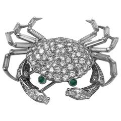 White Gold Crab Brooch All Set with Diamonds