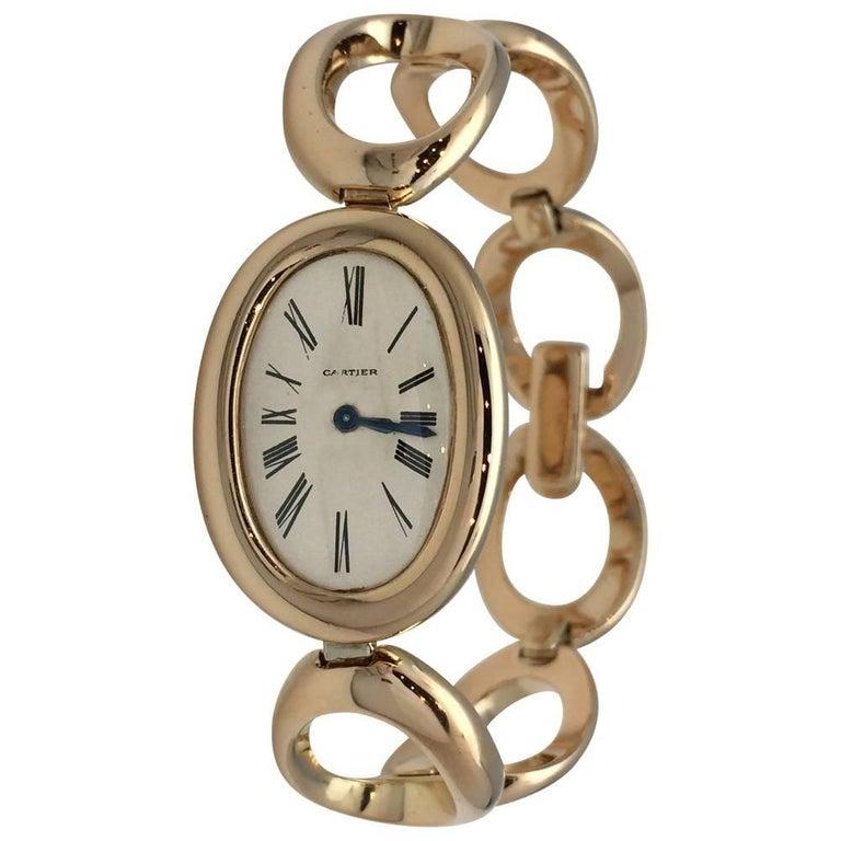 Cartier Ladies Yellow Gold Vintage Baignoire Manual Bracelet Wristwatch 1