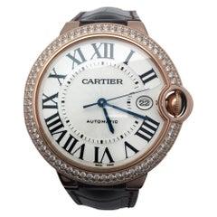 Cartier Pink Gold Diamond Ballon Bleu Self Winding Wristwatch