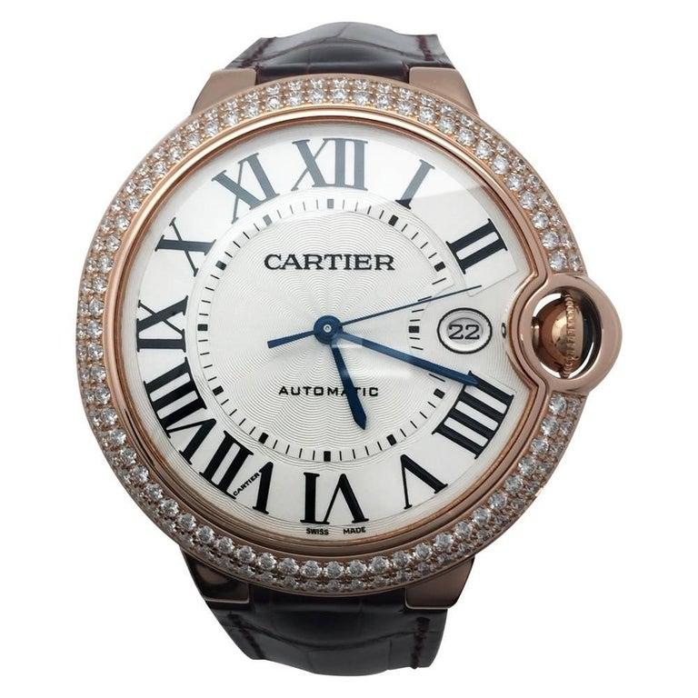 Cartier Pink Gold Diamond Ballon Bleu Self Winding Wristwatch 1