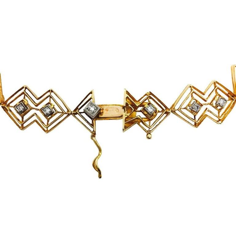 Ilias Lalaounis Diamond Yellow Gold Tie Necklace For Sale 4