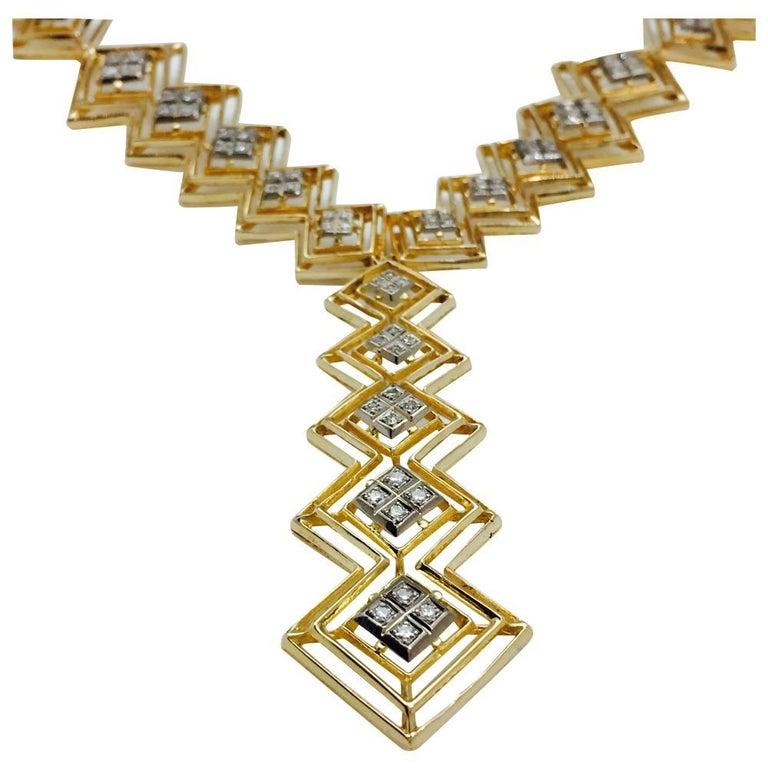 Ilias Lalaounis Diamond Yellow Gold Tie Necklace For Sale 2
