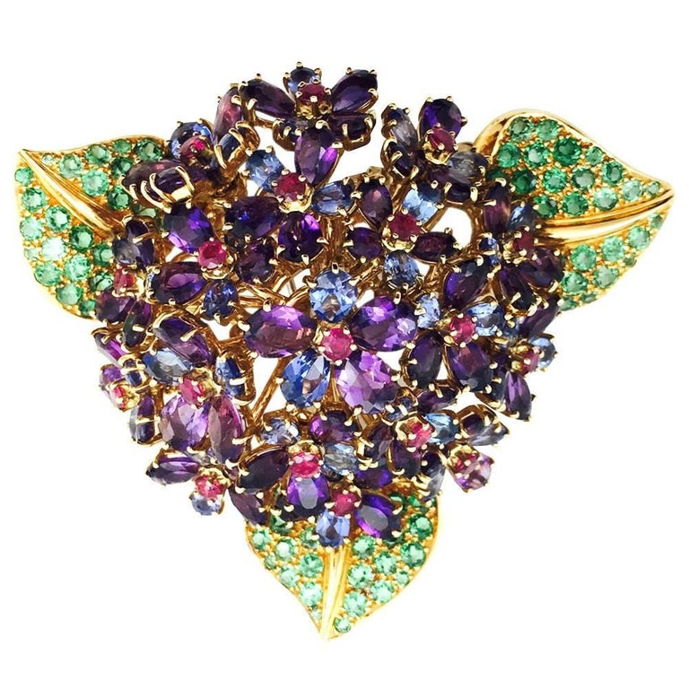 "Yellow Gold René Boivin ""Bouquet de Violettes"" Brooch, Multi-Gems"