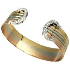 """Three Colors of Gold Cartier Bracelet ,""""C de Cartier"""" Collection"""