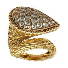 "Yellow Gold Boucheron Ring, ""Serpent Bohème"" Set with Brilliants"