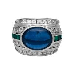 Repossi Sapphire, Emerald and Diamond Ring