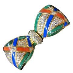 Van Cleef & Arpels Bow Pin, Brilliants and Ornamental Stones