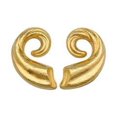 Lalaounis Hammered Yellow Gold Earrings