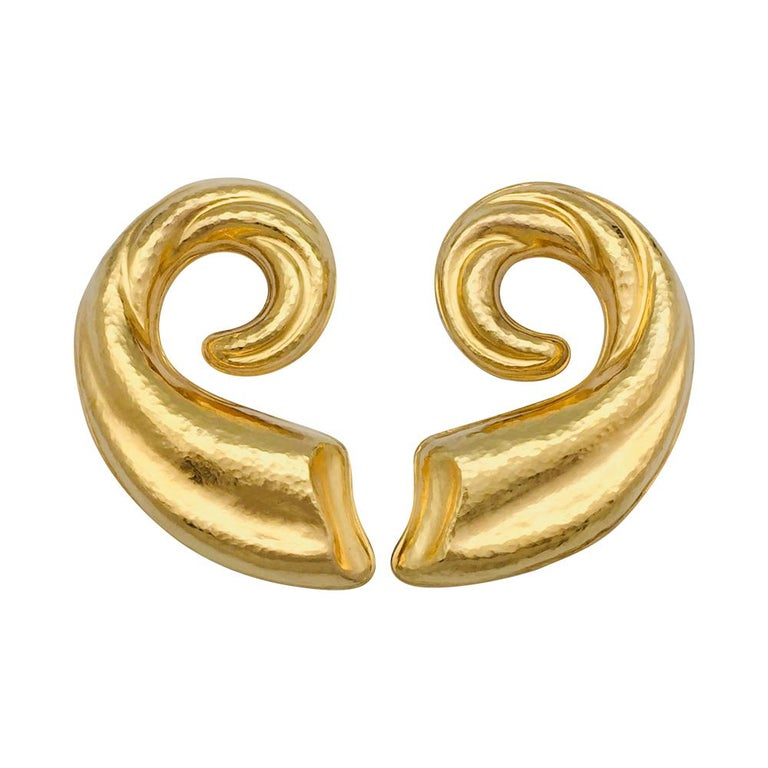 Lalaounis Hammered Yellow Gold Earrings For Sale