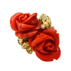 "Yellow Gold Dior Ring, ""Pré Catelan"" Collection, Red Coral and Diamonds"