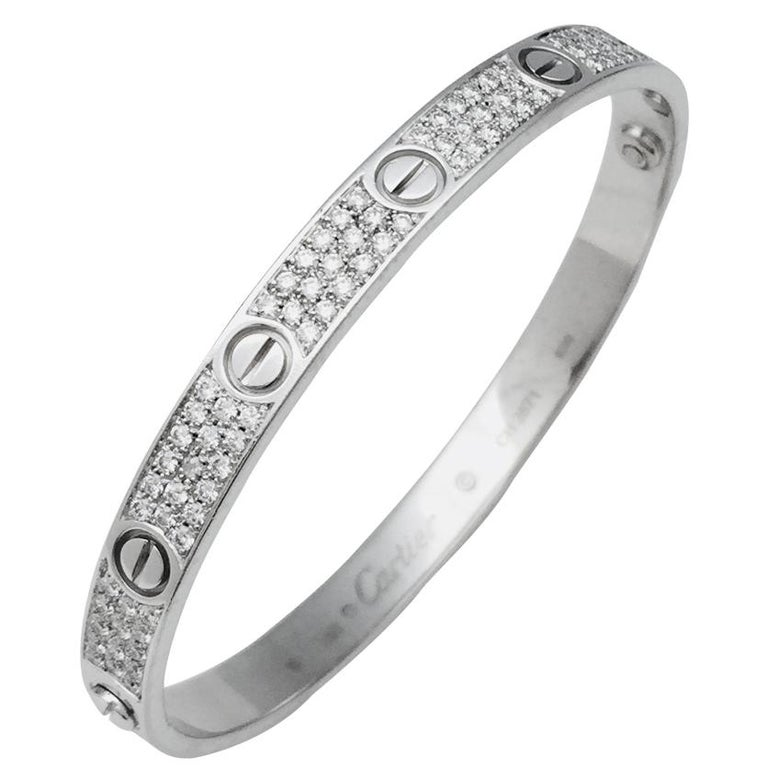 "White Gold Cartier ""Love"" Bracelet, Set with Diamonds"