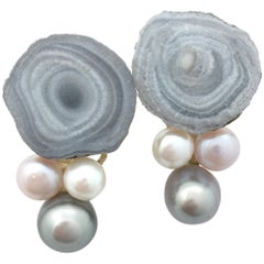 Yellow Gold Jean Vendome Earrings, Calcedony and Pearls