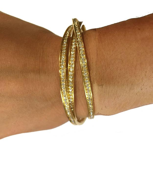 Cartier Trinity Diamond Gold Bracelet at 1stdibs