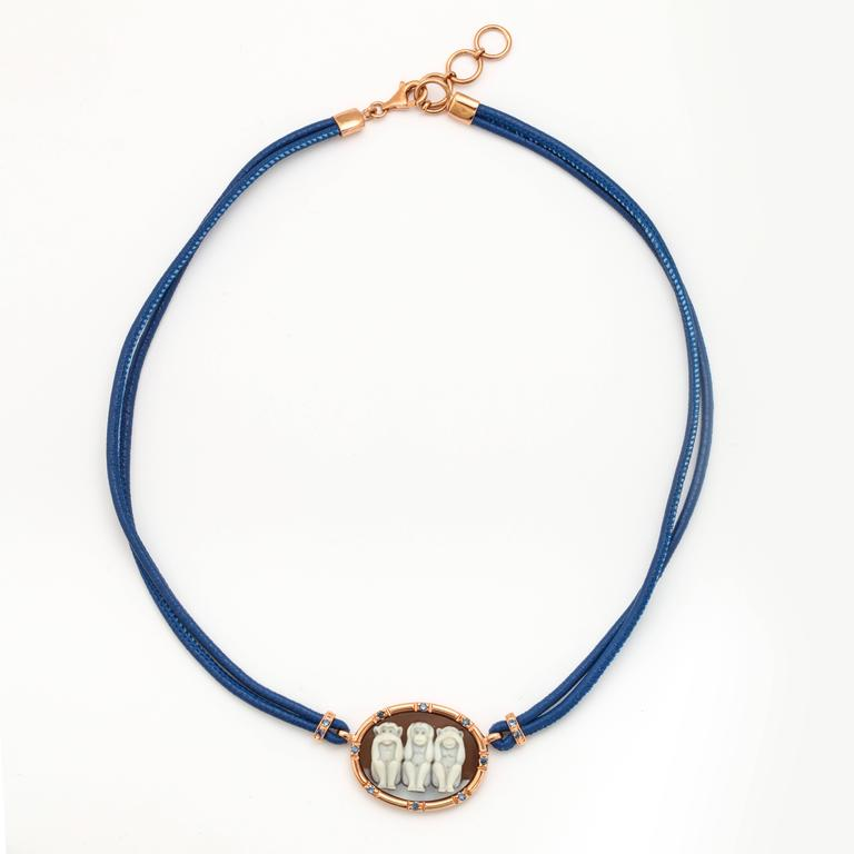 Amedeo Wise Monkeys Necklace with Sapphires 2