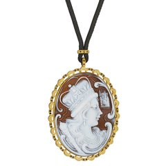 "Amedeo ""Regina"" Cameo Pendant with Black Diamonds"
