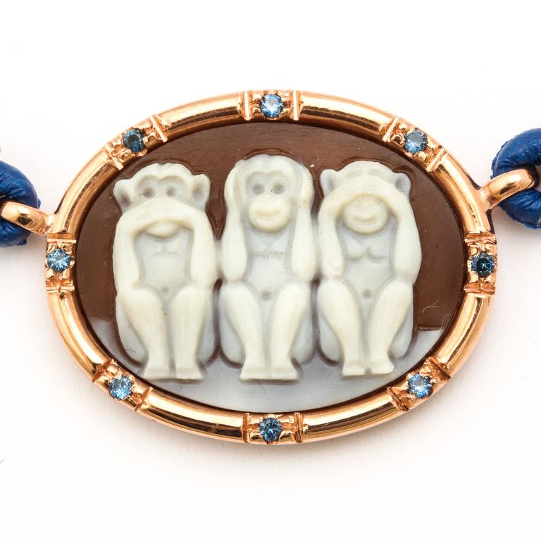 Amedeo Wise Monkeys Necklace with Sapphires 3