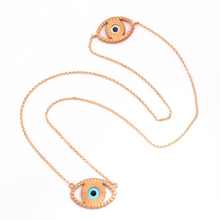 Modern Amedeo Mother-of-Pearl Rhodium-Plated Sterling Silver Evil Eye Necklace For Sale