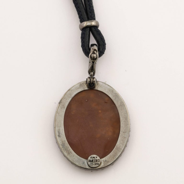 "Modern Amedeo ""Warrior"" Cameo Necklace with Grey Diamonds For Sale"
